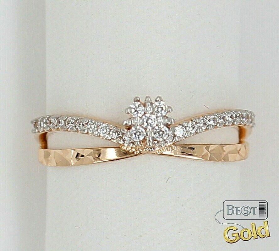 кольцо золотое с фианитом фото